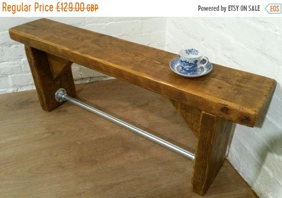 VALENTINE Sale FREE Delivery! Industrial Scaffold Steel Pipe Rustic Vintage Reclaimed Pine Dining Table BENCH - Village Orchard Furniture