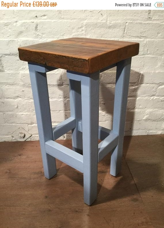 Summer Sale FREE DELIVERY! Hand Painted Farrow Ball Painted Made Reclaimed Solid Wood Kitchen Island Bar Stool in F&B Baby Blue