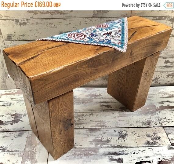 Autumn Sale Hand Made Solid Oak Reclaimed Timber Railway Sleeper Garden Dining Study Bench