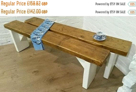 August SALE Free Delivery! F&B Painted 3ft Hand Made Reclaimed Old Pine Beam Solid Wood Dining Bench - Village Orchard Furniture