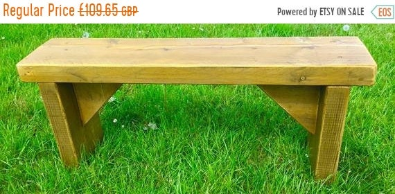 Summer Sale Summer Sale NEW! ALL Free Delivery! Golden Oak 5ft Hand Made Reclaimed Old Pine Beam Solid Wood Dining Bench