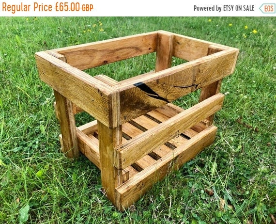 Xmas SALE British Hand Made Rustic Solid Oak Wood & Ply Kitchen Island Fruit Crates