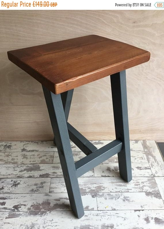 VALENTINE Sale Compact Pine Farrow Ball Painted Reclaimed Wood Kitchen Island Bar Stool Farrow Ball Paint