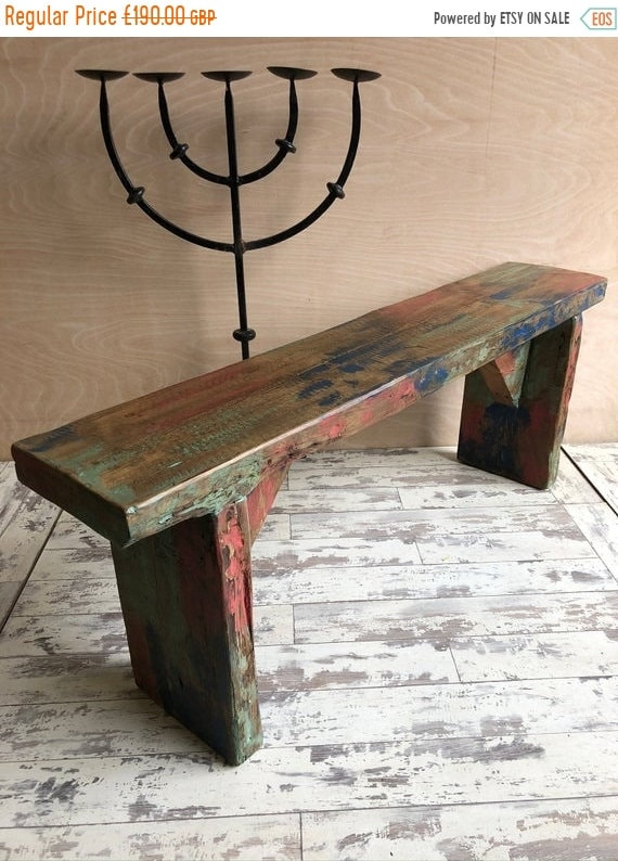 June Sale 1800's Antique Indian Colonial Solid Wood Vintage Rosewood Bench - Only This 1 !