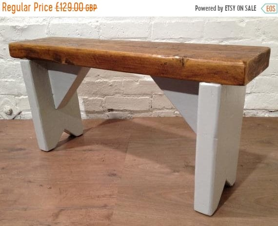 June Sale British F&B Painted 3ft Rustic Reclaimed Old Pine Dining Plank Table Chair BENCH - Village Orchard Furniture