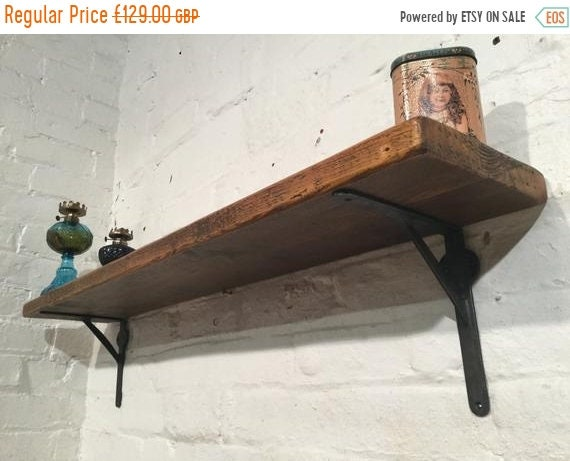 August sale FREE Delivery! 3ft Hand Made Wrought Iron Reclaimed Pine Plank Vintage Solid Wood Book Shelf - Built to Last by Village Orchard