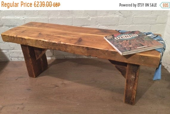 HUGE Sale 4ft HandMade 1800s Solid Rustic Wood Reclaimed Pine Coffee Table Vintage Bench - Village Orchard Furniture