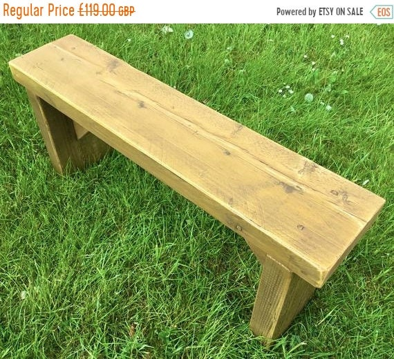 8 SALE 8 NEW! Golden Oak 3ft Hand Made Reclaimed Old Pine Beam Solid Wood Dining Bench