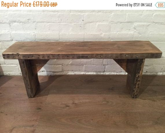 June Sale HandMade Old 1900s Reclaimed Pine Rustic Wooden Vintage Beams Dining Chair Bench - By Village Orchard Furniture in England