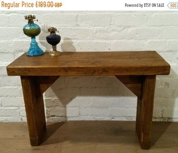 Bonfire Sale / Hall Console Rustic Reclaimed Solid Pine Vintage Dining Plank Table Chair BENCH - Village Orchard Furniture