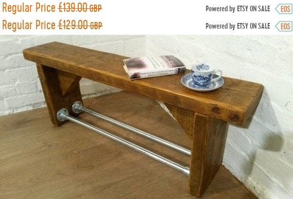 NewYear Sale 3ft FREE Delivery! Industrial Scaffold Steel Pipe Rustic Reclaimed Pine Table Shoe Rack Shelf BENCH - Village Orchard Furniture
