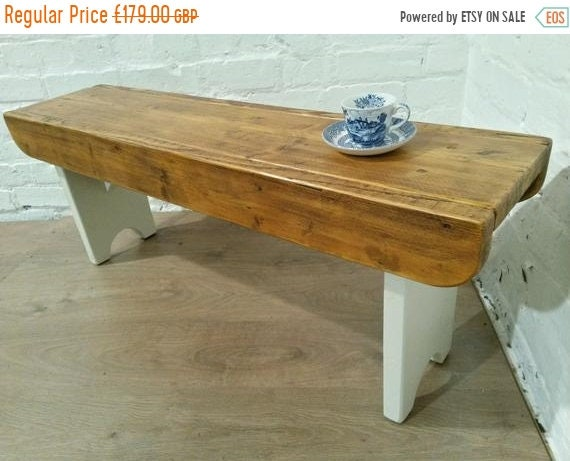Bonfire Sale / F&B Painted Antique 4ft Rustic Reclaimed Old Pine Dining Plank Table Chair BENCH - Village Orchard Furniture