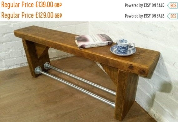 Autumn Sale 3ft FREE Delivery! Industrial Scaffold Steel Pipe Rustic Reclaimed Pine Table Shoe Rack Shelf BENCH - Village Orchard Furniture