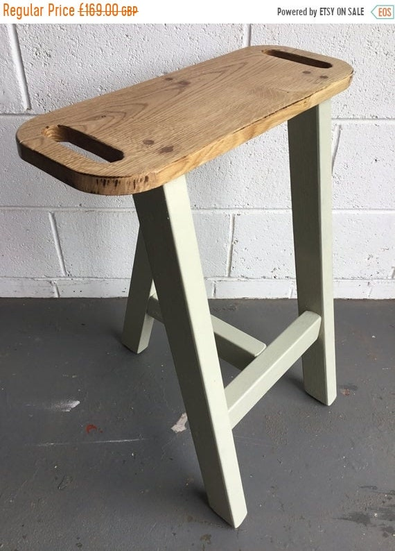 Xmas SALE Solid OAK and PINE Farrow Ball Painted Reclaimed Wood Kitchen Island Bar Stool Any F&B Paint