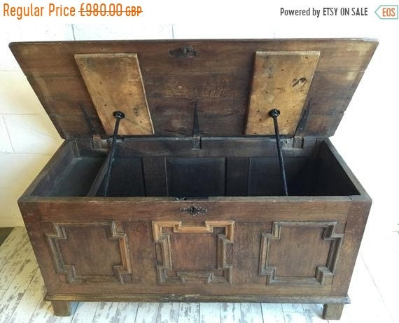 HUGE Sale 1800s English Solid Oak Chest Coffer - Stunning!