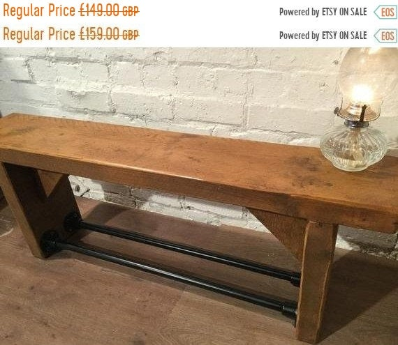 JAN SALE 3ft Old English Industrial Black Scaffold Steel Pipe Rustic Reclaimed Pine Table Shoe Rack Shelf Bench - Village Orchard Furniture