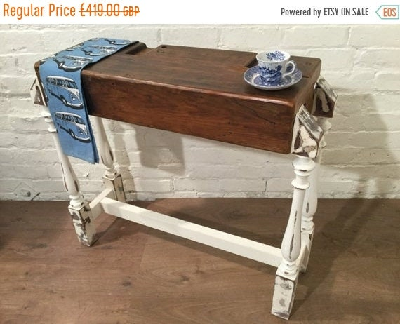 Halloween Sale Antique 1800s Pitch Pine Old Reclaimed Beam & 1900s Solid Oak Hall Console Table Unit Kitchen Island - Village Orchard Furnit