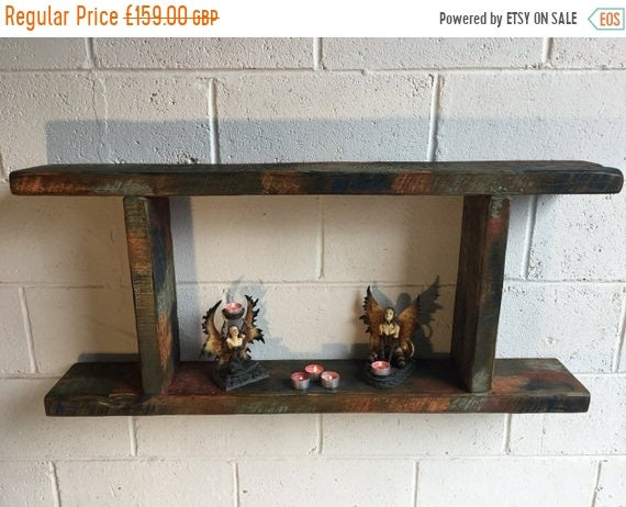 NewYear Sale 1800's Indian Colonial Reclaimed Timber Vintage Floating Wall Shelf Unit - Only 1!