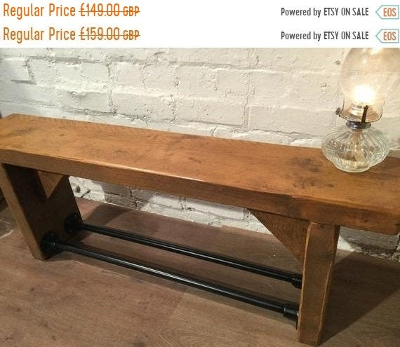VALENTINE Sale 3ft Old English Industrial Black Scaffold Steel Pipe Rustic Reclaimed Pine Table Shoe Rack Shelf Bench - Village Orchard Furn