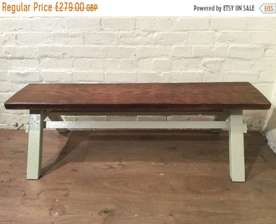 Xmas Sale Free Delivery - Our Architects Bench - HandMade in Solid Pine with a Huge Douglas Fir Wood Beam - Village Orchard Furniture