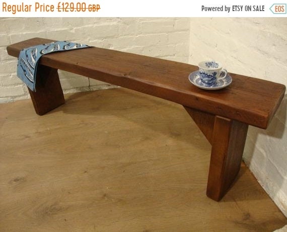 Xmas Sale FREE DELIVERY! 4ft Hand Made Teak Reclaimed Old Pine Beam Solid Wood Dining Bench - Village Orchard Furniture