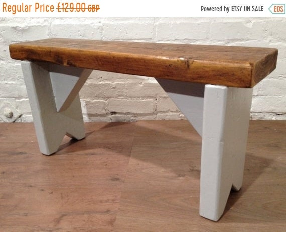 NewYear Sale British F&B Painted 3ft Rustic Reclaimed Old Pine Dining Plank Table Chair BENCH - Village Orchard Furniture