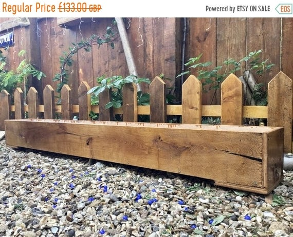 Xmas SALE NEW! 6ft British Hand Made Rustic Solid Wood Oak & Ply Garden Flower Trough Planters