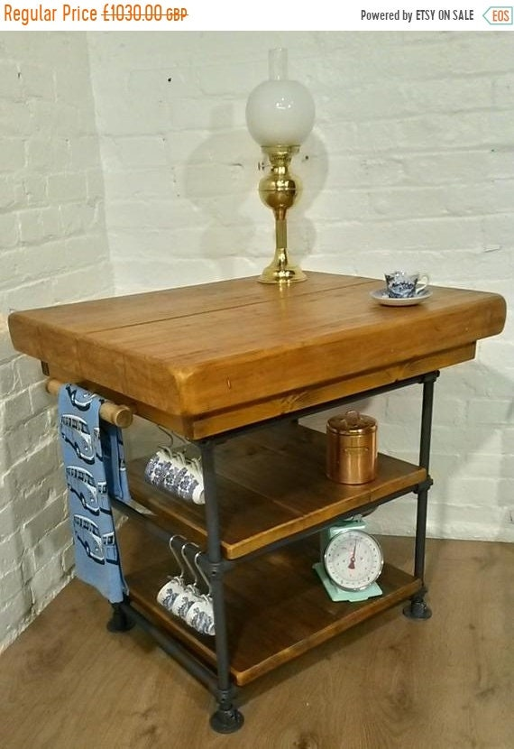 """Spring-Sale ONLY This One ! - Industrial Steel Pipe Butchers Block 4"""" Thick Church Beam Solid Reclaimed Pine Kitchen Island Table Unit"""