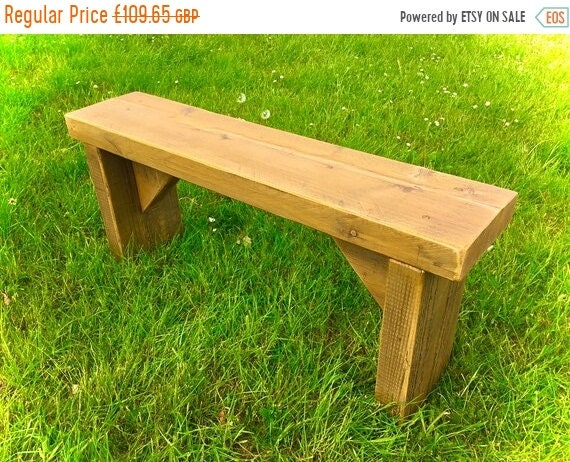 Autumn Sale Summer Sale NEW! Golden Oak 3ft Hand Made Reclaimed Old Pine Beam Solid Wood Dining Bench