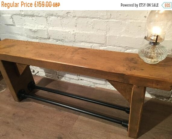 8 SALE 8 FREE Delivery! Industrial Black Scaffold Steel Pipe Rustic Reclaimed Pine Table Shoe Rack Shelf BENCH - Village Orchard Furniture
