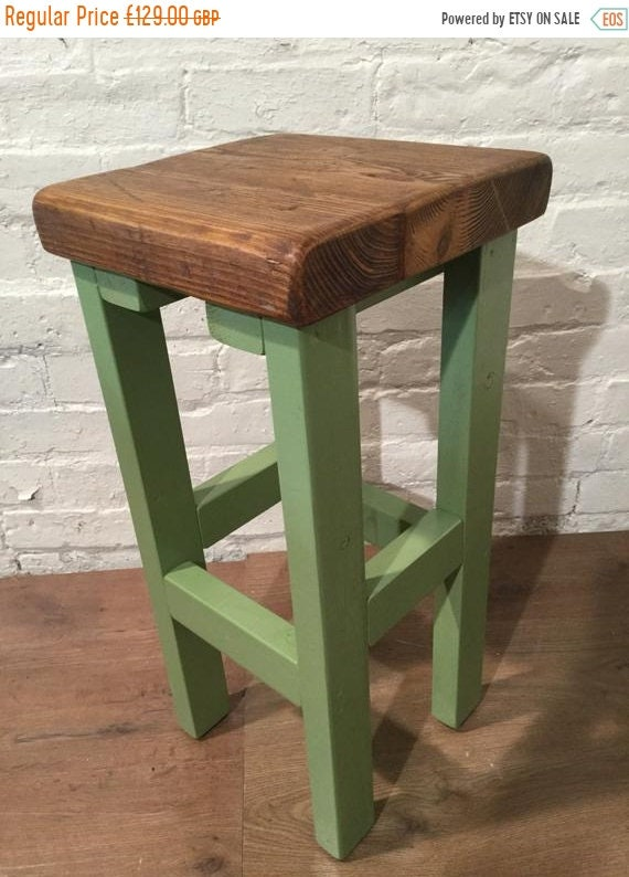 XMAS Sale Hand Painted Farrow & Ball Country Hand Made Reclaimed Solid Pine Wood Kitchen Island Bar Stool - Village Orchard Furniture