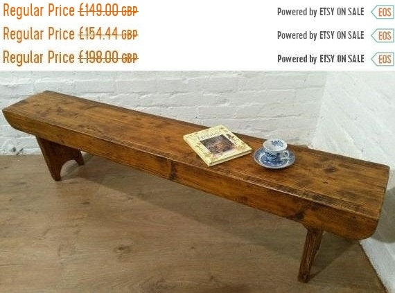 August sale Old School Antique 3ft Rustic Solid Reclaimed Pine Dining Plank Table Chair Bench - Village Orchard Furniture
