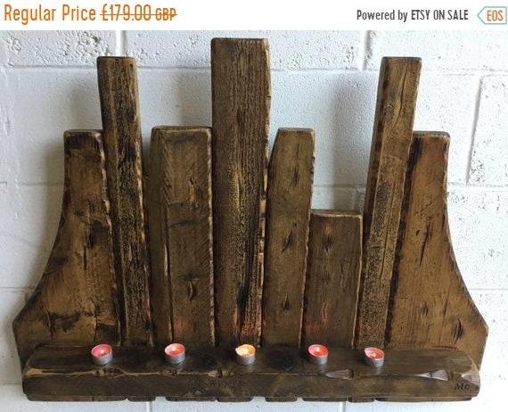 June Sale Big! HandMade Reclaimed Timber Beams Candle Floating Shelf