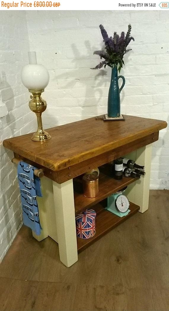 Spring-Sale FREE DELIVERY! Slim F&B Painted British Solid Reclaimed Pine Butchers Block Table Kitchen Island