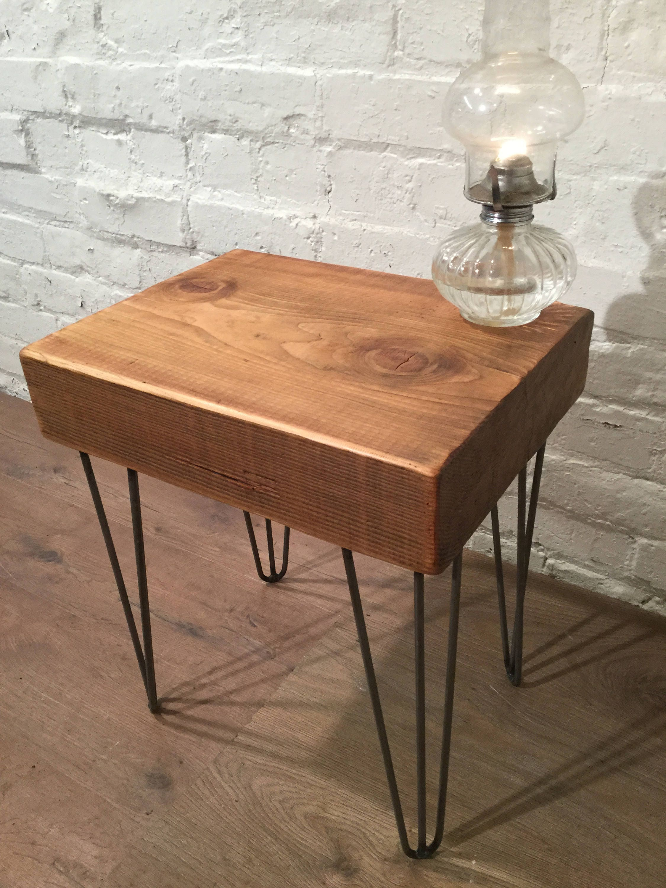 Douglas Fir Cube Block On HairPin Legs Reclaimed Vintage Solid Wood Compact  Coffee Table   Only This One!   Village Orchard Furniture