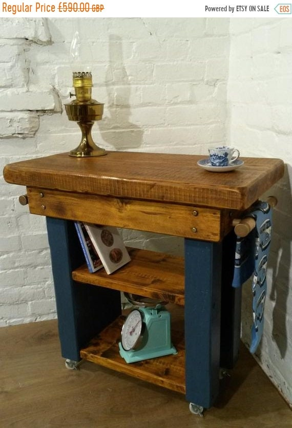 August sale FREE Delivery! HandMade Country F&B Painted Solid Pine Butchers Block Table Kitchen Island Village Orchard Furniture