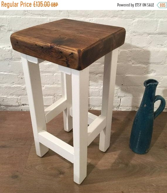 Xmas Sale FREE Delivery! Painted F&B White Hand Made Reclaimed Old Solid Wood Kitchen Island Bar Stool
