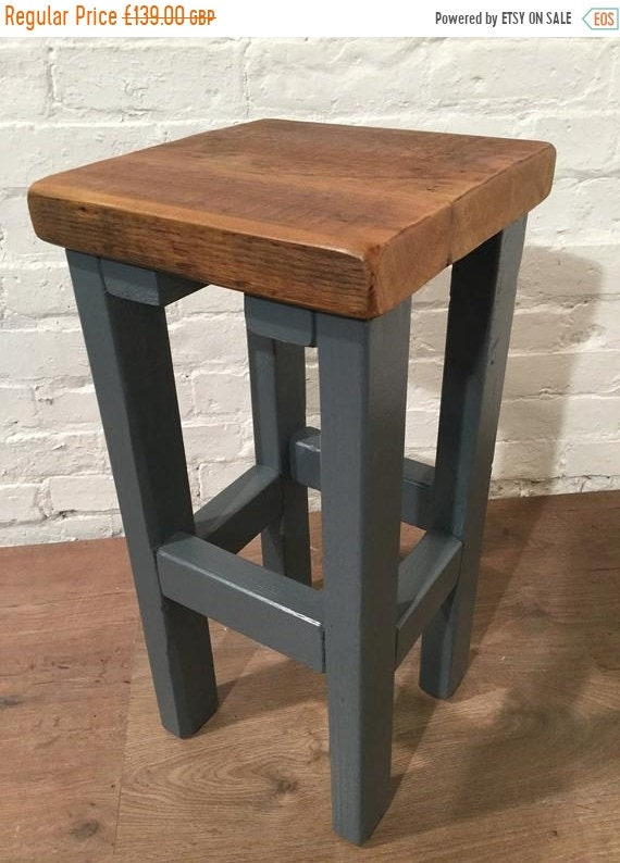 JUNE Sale FREE DELIVERY! Hand Painted F&B Made Reclaimed Solid Wood Kitchen Island Bar Stool