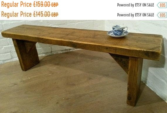 """Xmas Sale FREE DELIVERY! Extra-Wide 4ft 6"""" Hand Made Reclaimed Old Pine Beam Solid Wood Dining Bench"""