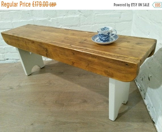 Halloween Sale F&B Painted Antique 4ft Rustic Reclaimed Old Pine Dining Plank Table Chair BENCH - Village Orchard Furniture