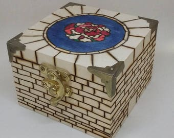OOAK Pyrograph stained glass box