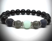 Empath Triple Protection Bracelet, Black Obsidian Bracelet, Feng Shui, Chakra Healing Crystals and Stones, Crystal Bracelet, Jewelry, Indie