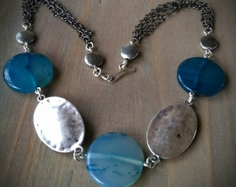 Teal Quartz & Antiqued Silver Necklace with Gun Metal Chain
