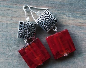 Square Red Glass & Silver Filigree Drop Earrings