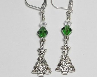 Green Christmas tree earrings, Christmas Tree Earrings, Earrings,Christmas,Swarovski Earrings,Silver charm, Holidays, Christmas Earrings