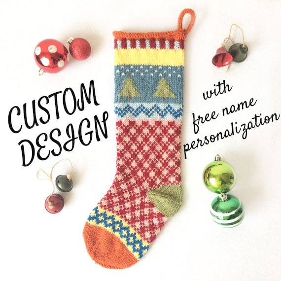 Knit Christmas Stocking Personalized Knit Christmas