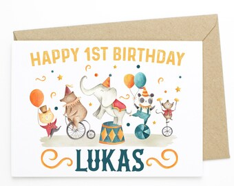 Embroidered Birthday Postcard Fabric Greeting Card Personalized 1st Birthday Card Baby Boy Expecting Card