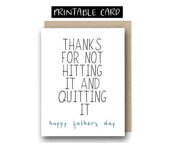 Printable Father S Day Card For Husband Thanks For Not Etsy