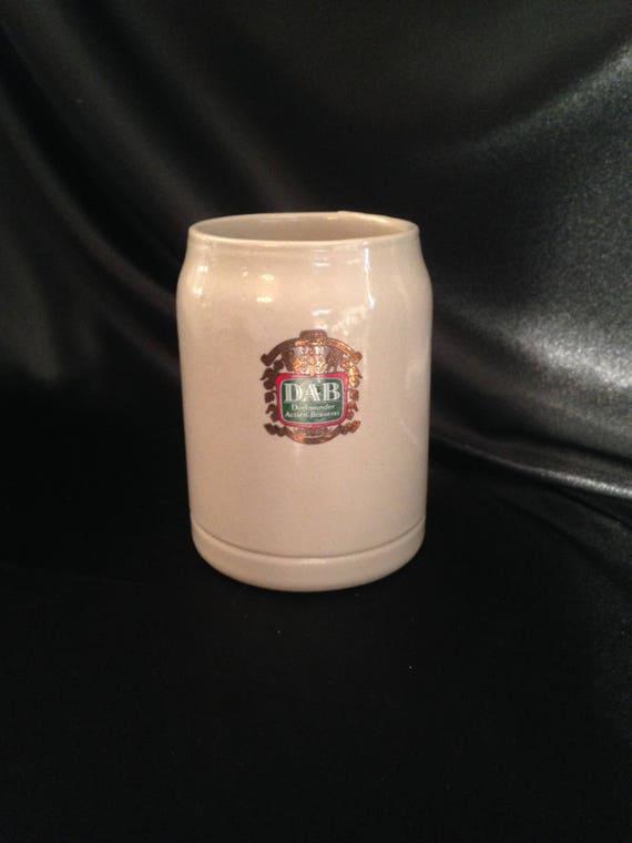 DAB Dortmunder Actien Brauerei deutsche Steinzeug Brauerei Bier Stein Tasse Becher, Vintage DAB Steinzeug Becher, Keramik Bier Stein