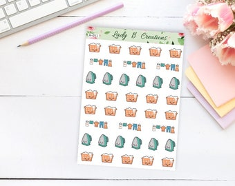 Washing, Hanging Out Clothes and Ironing - Everyday Planner Stickers - (A-051)